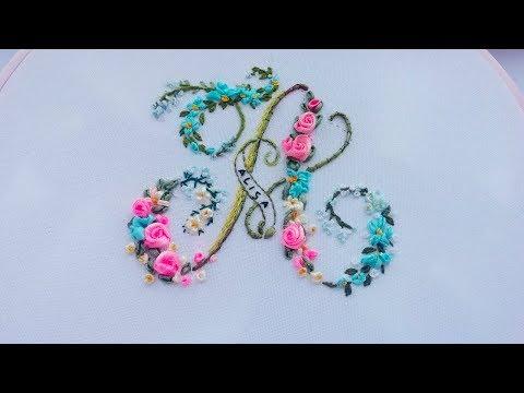 "Twirled Ribbon Rose 🌹Monogram ""A""| Вышивка 🌹Роза|bordado Con Cinta 🌹Letra A"