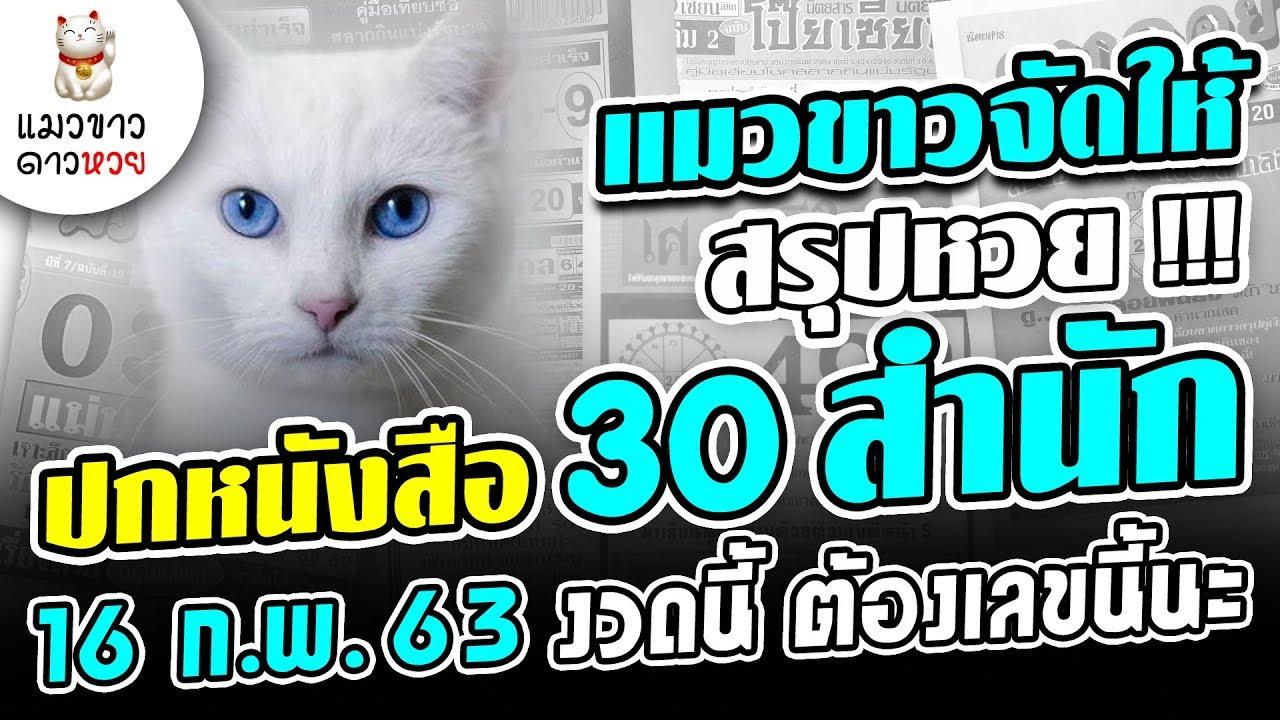 แมวขาวจัดให้ 16/2/63 สรุป 30 ปกหนังสือหวย งวด 16 ก.พ. 63 งวดนี้ เลขนี้น่าสนใจ