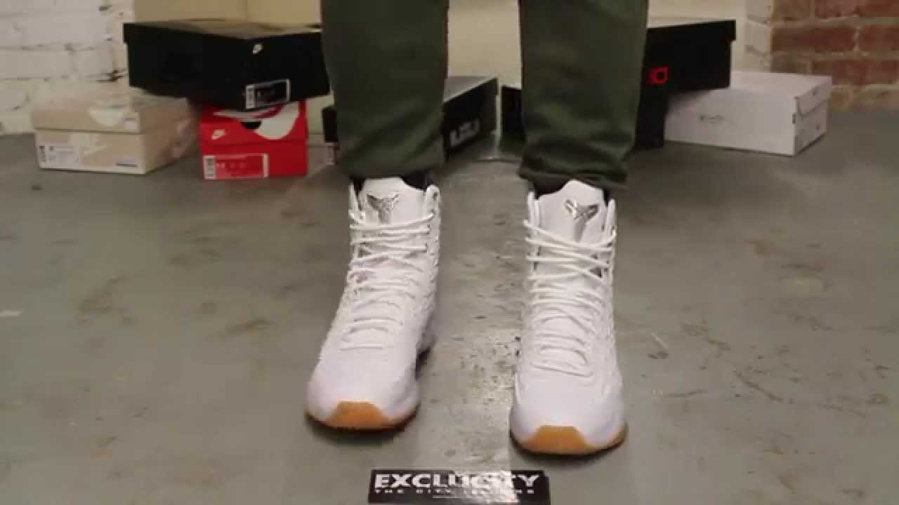 check out 861f0 55d1e Nike Kobe X Elite EXT QS - White - Metallic Silver On-feet Video at ...