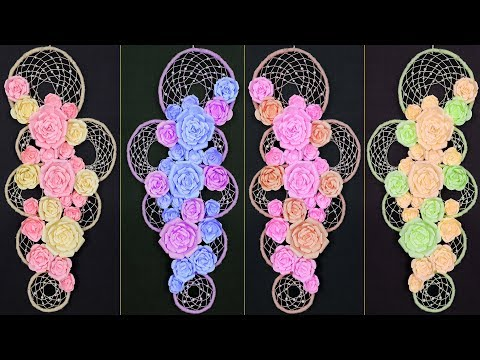 How to Make Dream Catcher    DIY Paper Flower Craft Idea    Wall Decor Craft Idea