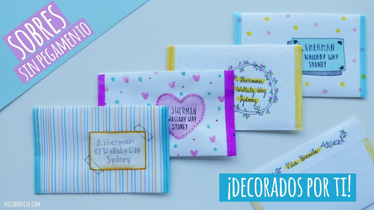 Como Decorar Una Carta Sobre De Papel Sin Pegamento Ideas Para Decorar Sobres Para Cartas