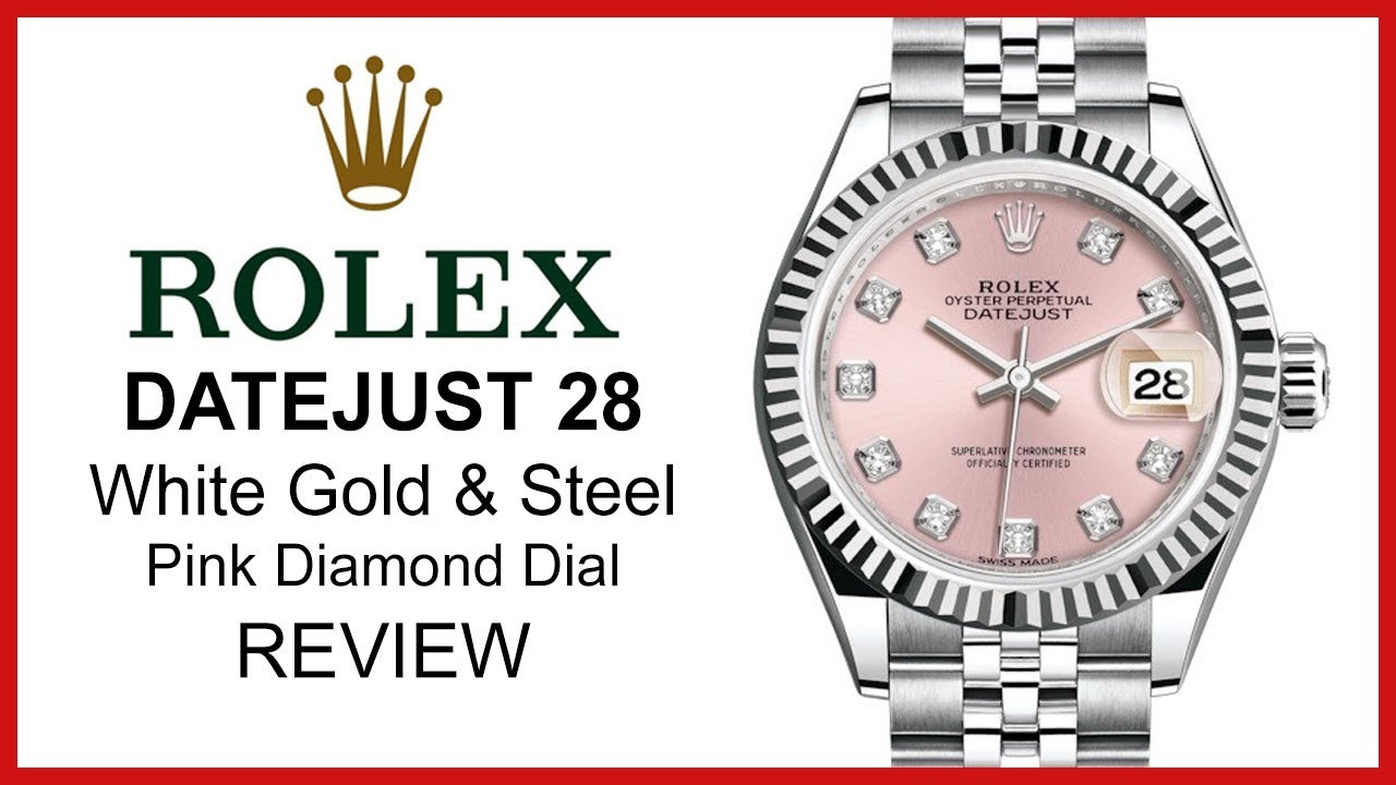 Rolex Lady Datejust 28 Pink Diamond Fluted Bezel White Gold Steel Jubilee Review 279174