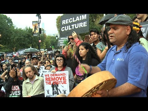 New Yorkers Call for Indigenous Peoples' Day & Removal of Columbus Statue