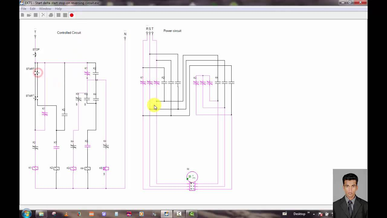 Three phase motor control circuit / star delta ,star stop on ...