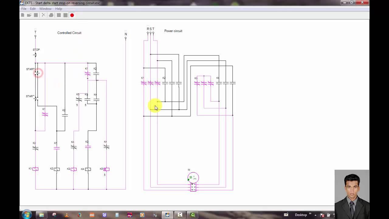 medium resolution of three phase motor control circuit star delta star stop on recersing circuit youtube