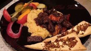 64. Beef Crowns In Royale Sauce W/ Mashed Turnips & Tapenade Triangles W/ Quickly Pickled Delights