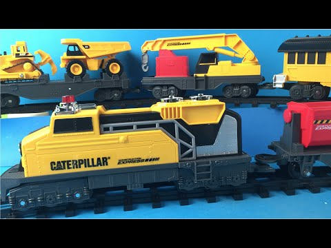 Cat Construction Express Train With Mighty Machines Toys Caterpillar Bulldozer Dump Truck Most Popular S