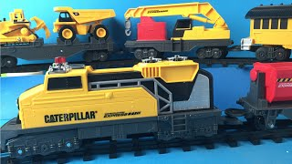 CAT Construction Express Train with Mighty Machines Toys Caterpillar Bulldozer Dump Truck