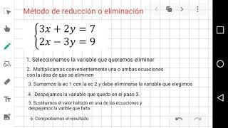 Sistema de dos ecuaciones lineales-Método de reducción o eliminación