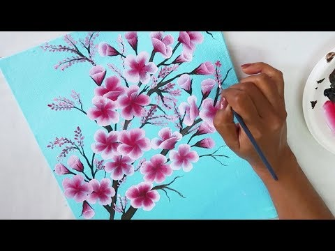 Easy Canvas Painting Ideas | Step by Step Painting tutorial for Beginners / One Stroke Painting