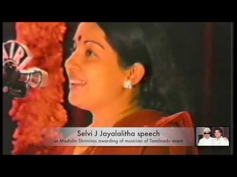 Selvi J Jayalalitha Articulate Speech felicitating Kamal Hassan, Madolin Srinivas at President Award