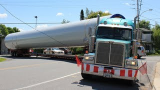 Semi gets stuck and SOLUTION - Wind turbine tower hauling truck