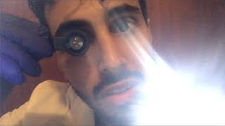ASMR Eye Exam- Doctor Roleplay (Light triggers, hand movments, face touching, lotion sounds)