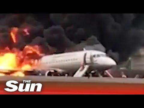 Moscow plane fireball crash landing and emergency evacuation