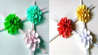 কাগজের ওয়ালম্যাট-Diy paper flower wall hanging-Wall Decoration ideas-Easy paper flower wall hanging