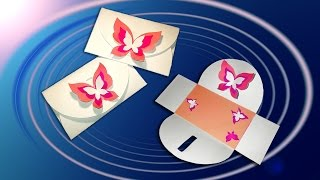 DIY Easter card with a lock in the shape of butterfly.  No Templates! DIY Buterfly envelope!
