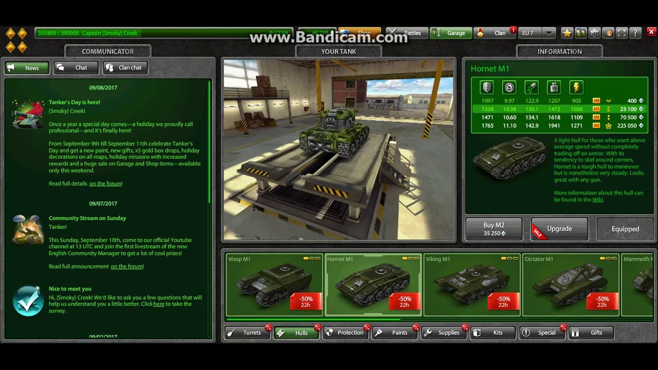 Tanki Online Buying M2 Hornet and Digital Paint(Tanker's Day Sale 50%)