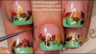 Fall Leaf Nails | Autumn Leaves Nail Art Design by Robin Moses