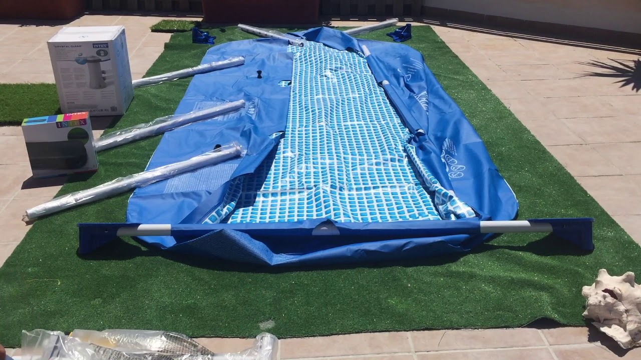 Unboxing montaje piscina piscina intex rectangular for Piscina hinchable rectangular con depuradora
