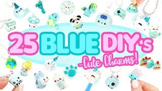 25 BLUE DIY's in CLAY -Cute Clay charms! - BIG Polymer Clay Compilation!