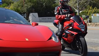 Suzuki GSXR 1000 VS Ferrari 458 Mulholland Battle!!!(, 2015-03-23T10:27:21.000Z)