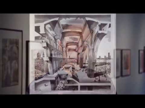 Sergei Tchoban Architectural Drawings exhibition at A+D Architecture and Design Museum, Los Angeles