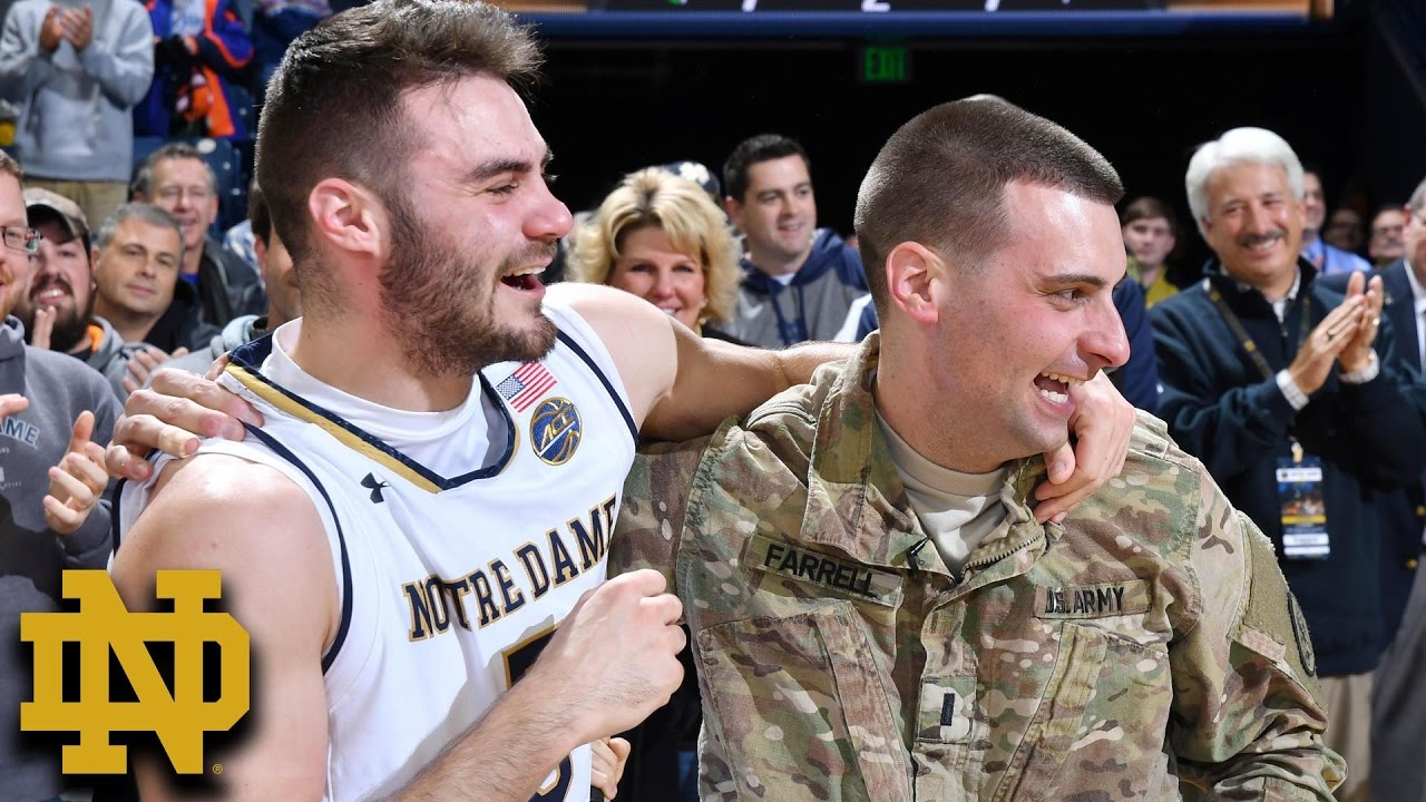 Notre Dame's Matt Farrell & Family Surprised By Military ...