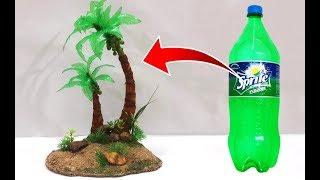 Newspaper और Waste कोल्ड ड्रिंक बोतल की सहायता से बनायें ये खूबसूरत नारियल का पेड़ | Recycled Crafts