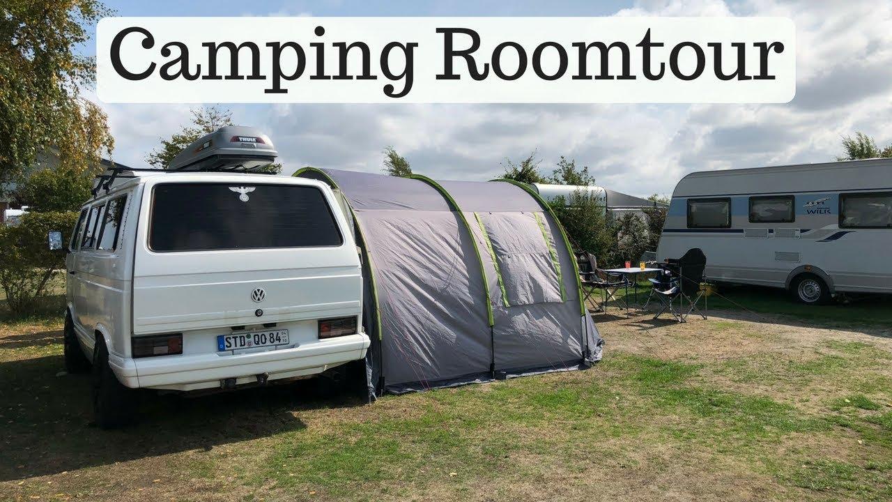 roomtour vom busvorzelt und organisation im t3 multivan bus i camping mit kleinkind i. Black Bedroom Furniture Sets. Home Design Ideas