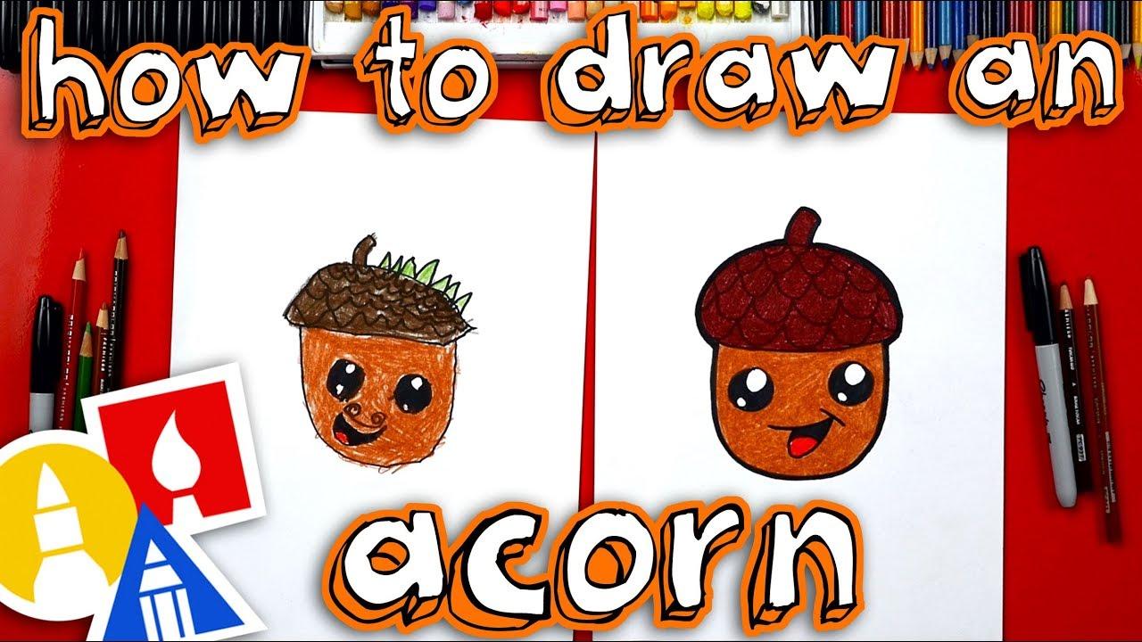 How To Draw A Cartoon Acorn