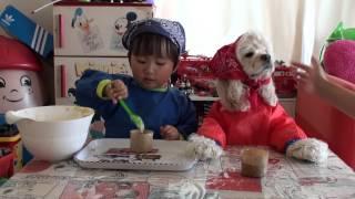 3歳の息子とアメリカンコッカースパニエルのエマと一緒にマフィン作り...