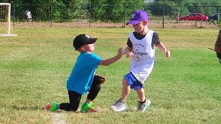 Tagged out at tee ball game! William tags a kid out at 2nd base and...