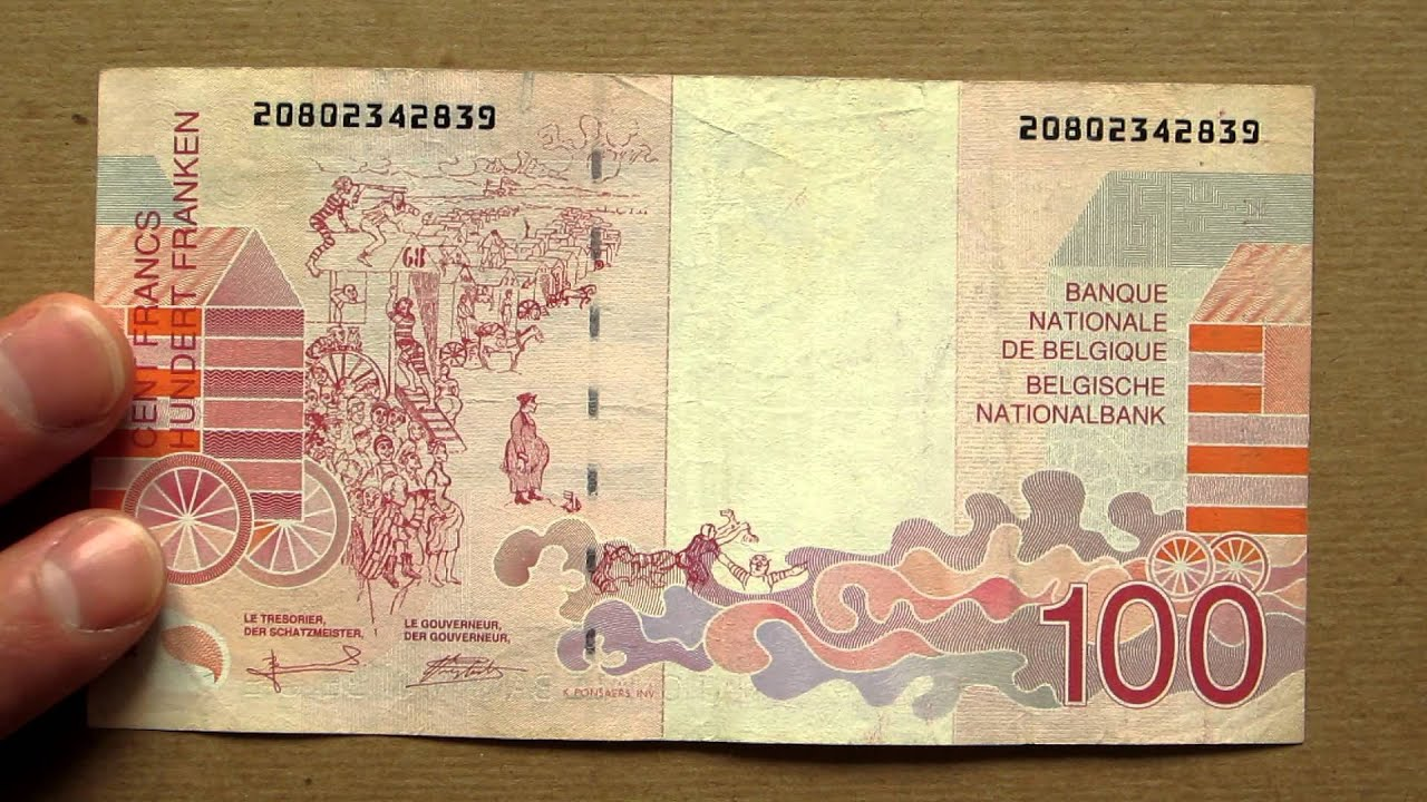 100 belgian francs banknote hundred belgian francs 1995 01 obverse and reverse youtube. Black Bedroom Furniture Sets. Home Design Ideas