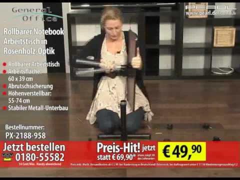 General Office Rollbarer Notebook-Arbeitstisch in Rosenholz-Optik