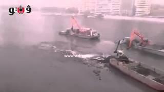 الحفارات تصطدم بأرض نهر النيل من امام ماسبيرو نظرا لنقص منسوب النهر بشكل كبير