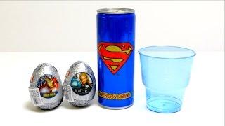 Superman Energy Drink + Iron Man & Thor Surprise Egg Unboxing