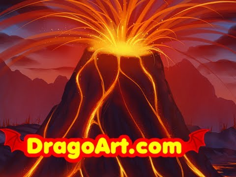 Painting a Volcanic Landscape, Draw a Supervolcano, Step by Step ...