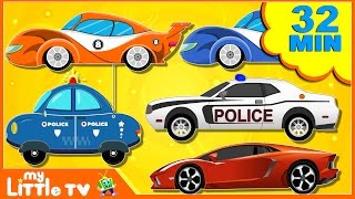 Cars Cartoons. Golden racing car. Police chase. Police Racing Car. Videos for Kids