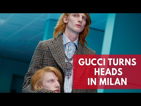 Gucci models show off replicas of their own heads at Milan fashion week