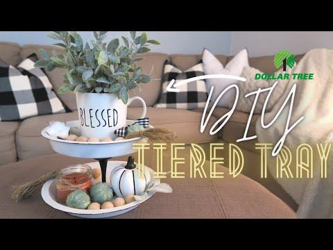 Dollar Tree Farmhouse Tiered Tray / DIY Tiered Tray / Dollar Tree Tiered Tray