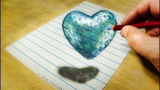 Drawing Floating Heart - How to Draw Ice Heart - VamosART