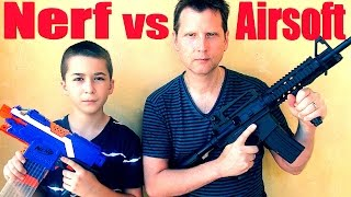 Nerf vs Airsoft with Robert-Andre and SuperD! Nerf War/battle at the end!