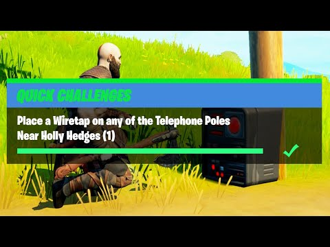 Place a Wiretap on any of the Telephone Poles Near Holly Hedges (1) – Fortnite Quick Challenge Guide