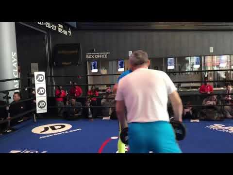 Daniyar Yeleussinov public workout before pro debut at Barclays Center