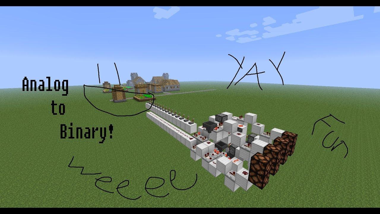 Minecraft 2 Wide Bit Analog To Binary Converter Youtube Binarytobcd Module