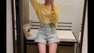 kirahosi 여자 가을 줄무늬 단가라 컬러 티셔츠 …