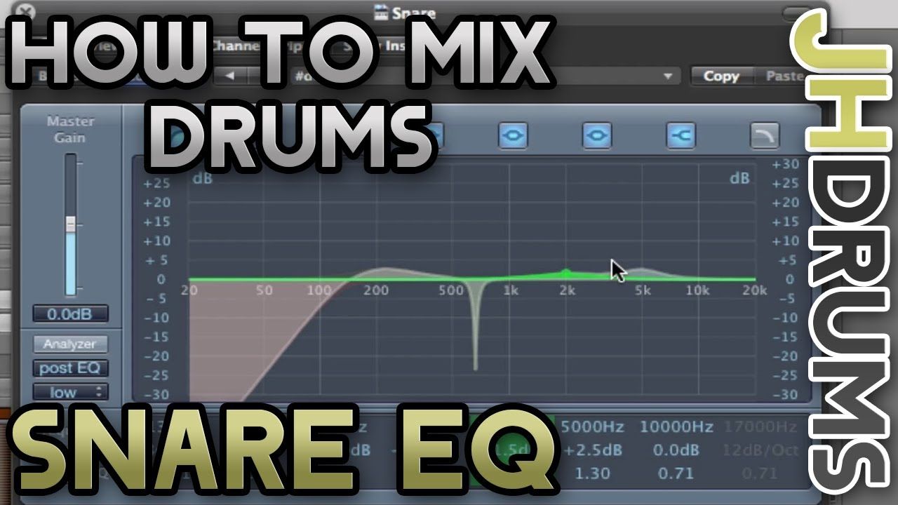 snare drum eq how to mix drums part 6 by jhdrums youtube. Black Bedroom Furniture Sets. Home Design Ideas