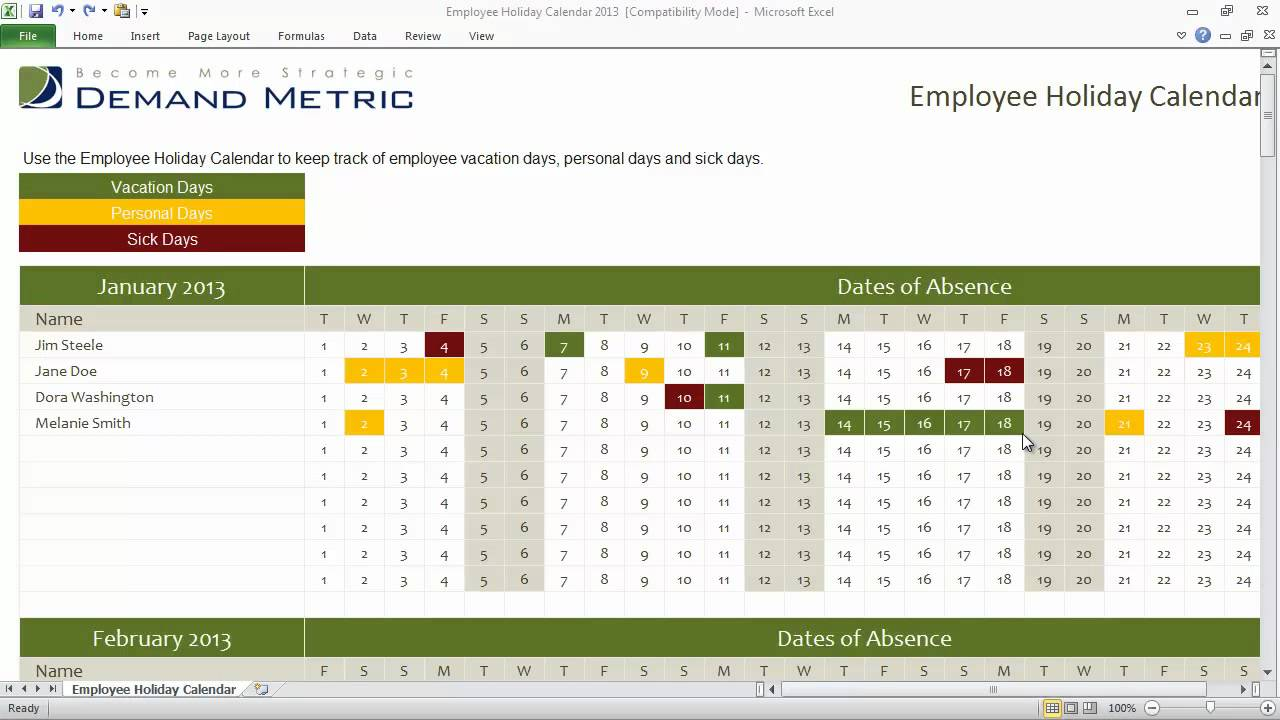 Employee Holiday Calendar Template 2013 YouTube – Sample Vacation Calendar