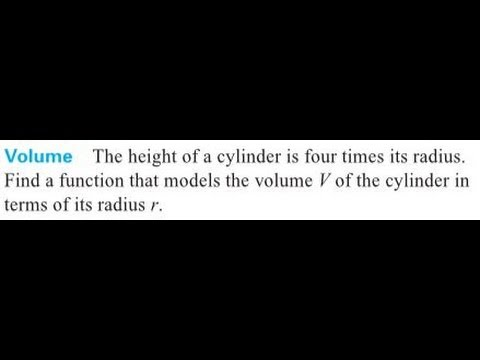 Find A Function That Models The Volume V Of The Cylinder In Terms Of Its Radius R