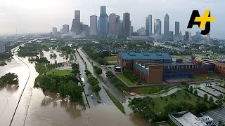 Drone Footage Shows Huge Floods In Houston, Texas